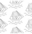 Sailing boat seamless outline pattern in vector image vector image