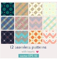 set 12 seamless patterns with hearts vector image