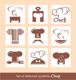 set different symbols chef vector image vector image