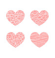 set of linear stylized hearts symbol of love vector image vector image