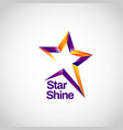shiny purple orange with star track sign symbol vector image vector image