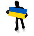 silhouette of a man with the flag of Ukraine vector image