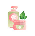 soap pump bottle and cream jar cosmetic products vector image