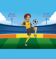 soccer player juggling the ball in soccer stadium vector image vector image