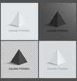 square pyramid set on dark light and transparent vector image vector image