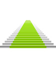 Stairs with a green carpet staircase with green vector image vector image