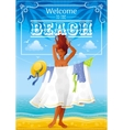 Summer travel beach background with beautiful tan vector image vector image