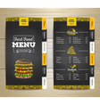Vintage chalk drawing fast food menu vector image
