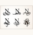vintage set capital letter n for monograms vector image vector image