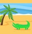 wild animal crocodile living in water walks vector image