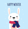 winter card with cute rabbit vector image vector image
