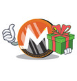 with gift monero coin character cartoon vector image vector image