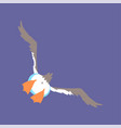 funny seagull flying cute comic bird character vector image