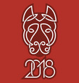 2018 chinese new year greeting card template dog vector image
