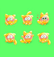 3d set of emotional little kittens vector image