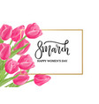 8 march spring banner with pink tulips vector image vector image