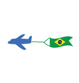 airplane with brasil flag color vector image