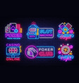 big colletion neon sign casino logos and emblems vector image vector image