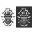 biker skull in helmet and goggles emblem vector image vector image