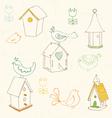 birds and bird houses doodles vector image vector image
