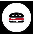 black and red simple hamburger isolated icon eps10 vector image vector image