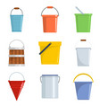 bucket types container icons set isolated vector image vector image