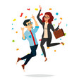 business couple jumping man and woman vector image