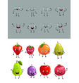 cartoon fruits and berries with funny faces vector image