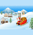 cartoon santa claus with de vector image