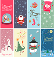 Christmas banner with funny characters vector image vector image