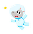 cute little hippo animal astronaut spaceman vector image vector image