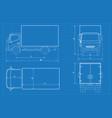 delivery truck schematic or van car blueprint vector image vector image