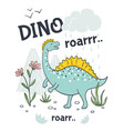 doodle dinosaur poster cute cartoon animal vector image