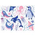 fairy tale northern ocean animals cartoon set vector image vector image