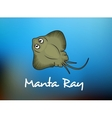 Funny cartoon stingray or manta vector image vector image