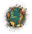 funny monsters with grunge vector image vector image