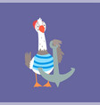 funny seagull standing with anchor cute comic vector image vector image
