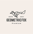 geometric fox tech connection line hipster vector image vector image