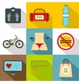 Gym icons set flat style vector image vector image