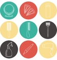 Hair accessories and barber tools color icons vector image vector image