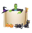 halloween scroll background vector image