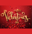 happy valentines day gold handwritten text vector image vector image