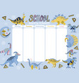 kids weekly planner with cute doodle dinosaurs a vector image vector image