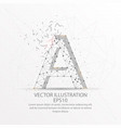 letter a form low poly wire frame on white vector image vector image