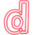 lowercase letter d drawing with Red Marker vector image vector image