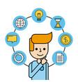 man creativity think work money global message vector image