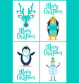 merry christmas banners set on vector image vector image