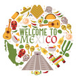 mexican symbols in round frame composition vector image vector image