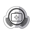 monochrome sticker with circle with firts aid kit vector image vector image