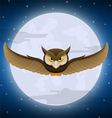 Owl flying with full moon and star background vector image vector image